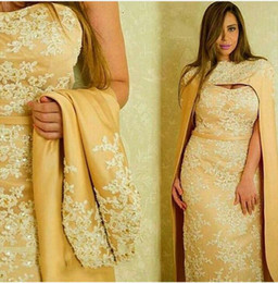 Wholesale Cape Styles - 2016 Lace Appliques Beaded Cape Evening Dresses Sleeveless Sexy Design in Middle East Style Formal Gowns