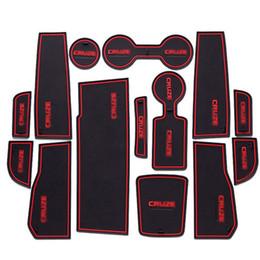 Wholesale Chevrolet Car Stickers - 14pcs Non-Slip Rubber Interior Car Door Armrest Storage Panel Mat Cup Holder Slot Pad Cover Sticker For Chevrolet Cruze 2015-2016