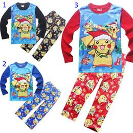 Wholesale Boys 5t Pajamas New - Poke go Pikachu 7 Design Boy girl Pajamas new children Cotton cartoon pocket monster long Sleeve + Pants 2pcs Suits baby clothes B001