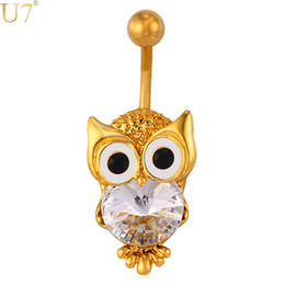 Wholesale Rhinestone Owl Rings - unique New Cute Owl Jewelry Navel Ring Women Body Jewelry 18K Gold Plated   Platinum Lucky Nighthawk Animal Belly Button Ring DB006
