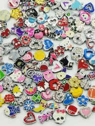 Wholesale 8mm Slide Charms Wholesale - 8mm size Slide Rhinestone charms DIY Pendants Jewelry alloy accessories charms for 8mm snaps bracelets belts