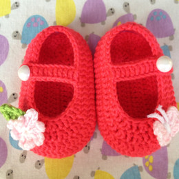 Wholesale Crochet Best - Free shipping Handmade Crocheted Baby Booties, Crochet Baby Pure Color shoes Butterfly love flower Best Price and High Quality Free Shipping