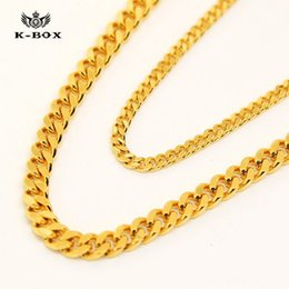 Wholesale Cuban Link Necklaces - DHL free 2017 super AAAAAA 24K 3mm 5mm 24 30 inch Wide Solid Gold Plated Small Miami Cuban Curb Link Chain men chain Necklac men necklace