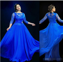 Wholesale Gowns For Fat Sleeves - Design Formal Royal Blue Sheer Evening Dresses With 3 4 Sleeved Long Prom Gowns UK Plus Size Dress For Fat Women