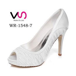 Wholesale Ivory Satin Round Toe Shoes - 10cm Heel Platfrom Elegance Delicate Style Wedding Shoe Evening Shoes High Heel Bridal Shoes Party Prom Women Shoes bridal shoes Party Shoes