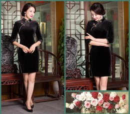 Wholesale Chinese Silk Velvet - Chinese silk Qipao Vintage velvet Cheongsams long sleeve Classical Chinese Style dress Chinese Traditional Dress