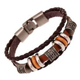 Wholesale Cool Weaves - Cool Handmade Retro PU Leather Woven Charm Bracelets Men Women Vintage Braided Bracelets Bangles Rivet Bracelets Male Female Jewelry
