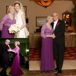 Wholesale Purple Lace Jackets - Purple Lace Stain Mother of The Bride Dresses with Lace Jacket 2018 Two Pieces Plus Size Full length Mother Groom Evening Party Dress