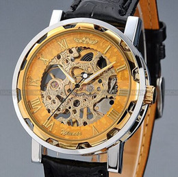 Wholesale Steampunk Transparent Skeleton - 2016 HOT WINNER Golden Men Skeleton Mechanical Watch Stainess Steel Steel Hand Wind Watches Transparent Steampunk Montre Homme Wristwatch