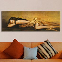 Wholesale Living Room Canvas Paintings - 1 Pcs Wall Canvas Art The Sleeping Woman Pictures For Living Room Home Decor Figure Painting No Frame