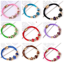 Wholesale European Leather Bracelets Mixed Colors - Wholesale 10pcs Lot mixed colors Fashion European Jewelry Crystal Porcelain Spacer Beads DIY Leather pu Bracelet many colors to choose