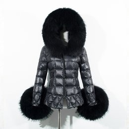 Wholesale Quilted Sleeves - Winter Women Black Down Jacket Coat Raccoon Fur-Trim Hood Long Sleeve Warm Parka Coats Fashion Checked Quilted Slim Overcoats CJF0909