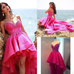 Wholesale Tiered High Low Prom Dresses - Fuchsia High Low Fashion Prom Dresses 2016 Sweetheart Beads Crystal Ruffles Vintage Lace Vestido De Robe Formal Evening Cocktail Gown BA3386