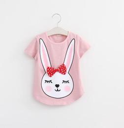 Wholesale Chiffon Shirts For Kids - New Summer 2016 Baby T Shirts for girls Cotton Short Sleeve Rabbit cartoon Print Brand Tees Spring Kids cute Tops Girl T-shirt