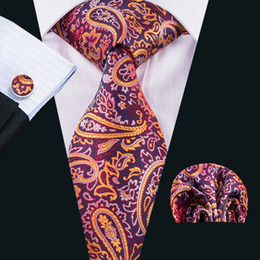 Wholesale Dropship Tie - Tie Dropship Wholesale Silk Tie and Cufflinks Sets with Pocket Squared for Wedding Party Business N-1626