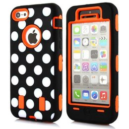 Wholesale Iphone Polka Dot Hybrid - Seafly Case For iPhone 5c Cute Polka Dot Design 3 Layers Hybrid Rubber Defender Hard Soft Case Combo For iphone5c cases