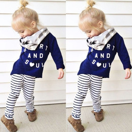Wholesale Gilrs T Shirt - 2016 ins Gilrs Baby Childrens Clothing Sets Letters Long Sleeve T-shirts Striped Pants 2 Piece Set Jumpers Toddler Kids Infant Clothes