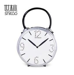 Wholesale Hip Hop Clocks - Factory direct brand handbag Europe Handmade Diamond Ladies Handbag alarm clock model womens hip hop personality bangalor round handbag