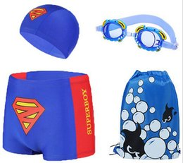 Wholesale Superman Swim Cap - Small size Superman Cartoon Children Swimming Trunks Boy Swimwear Package +Cap +Swim Goggles +Package set HYY06