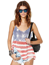 Wholesale Women S American Flag Shirt - Wholesale-Open Back American Flag Striped Us Print Women Casual Strappy Top Loose Fitness Girl Vest Summer Loose Oversized T Shirt T-Shirt