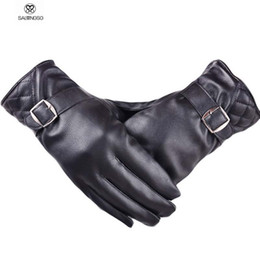 Wholesale Driver Gloves - Wholesale-Motocycle Driver Winter Gloves With Metal Buckle Men Leather Gloves Windbreaker Cool Men's Warm Glove For Boys Waterproof