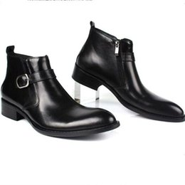 Wholesale Popular Business Suit - In 2017 the new popular British style short boots, black leather pointed business suits short boots
