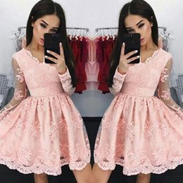 Wholesale Cheap Long Sweet 16 Dresses - 2018 New Sweet Pink V neck Short Cocktail Dresses Long-sleeves A-line Lace Applique Mini Homecoming Dresses Cheap