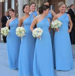 um vestido azul céu ombro Desconto 2018 Sexy Sky Blue Chiffon Vestidos de Dama de honra de Um Ombro Longo Custom Made Formal Evening Vestidos de Baile Maid of Honor Barato