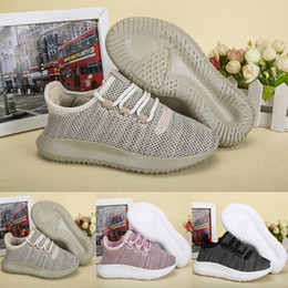 Wholesale Knitted Baby Boy Shoes - New Children Athletic Shoes Tubular Shadow Knit Running Shoes Boost 350 Baby Kids Sports Shoes Ultra Boost Boys Girls Trainers Sneaker Pink