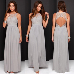 Wholesale Grey Color Evening Dress - 2016 Cheap Lace Grey Bridesmaid Dresses for Wedding Long Chiffon Backless Formal Evening Party Wear Modest A-Line Maid Of Honor Gowns