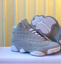 Wholesale Hip Hop High Top Sneakers - 2018 top quality hip hop shoes skateboard retro 13 sneakers women men all gray high XIII training shoes casual cool gray size us5.5-13
