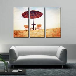 2019 arte de la playa de lona 3 combinación de la imagen colorida playa de verano impresión de la lona paisaje marino Printe pintura al óleo sobre lienzo ilustraciones de la lona listo para colgar arte de la playa de lona baratos