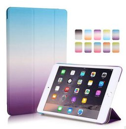 Wholesale Ipad Mini Case Magnetic Dhl - For Ipad Pro Ultra Thin Magnetic 3 Folding Folio Case Gradient Rainbow Wake Sleep Cover Case for iPad air 2 Ipad 2 3 4 Mini Ipad Pro DHL