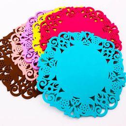 silikon-spitze-untersetzer Rabatt Großhandel Spitze Blume Silikon Coaster Tee Tasse Schüssel Glas Pad Matte Kissen A0512 # R21
