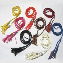 Wholesale Thin Waist Tie Belt - Wholesale-Women PU Leather Tassel Fashion Ladies Braided Belt Self-Tie Thin Waist Rope Belt