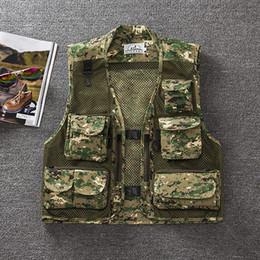 Wholesale Camouflage V Neck - Wholesale-free shipping summer men's plus size fishing jacket Camouflage mesh vest outdoor casual multi-pocket waistcoat men Hot