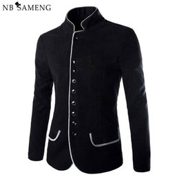 Wholesale Mens High Standing Collar Coat - Wholesale- 2016 New Luxury Men Jacket High Quality Fashion Stand Collar Wool Mens Blazer Coat Slim Fit Cotton Terno Masculino 13M0603