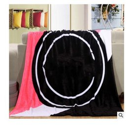 Wholesale Wholesale Throw Blankets Coral - Blankets For Beds High Quality Coral Fleece Travel Letter Warm Beach Cover Throw Blanket Air Condition Christmas Gifts Free Shipping