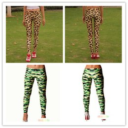 Wholesale Sexy Leggings Tights Feet - Fashion Women Leopard Camouflage Tight Sexy Leggings Elasticity Feet pants girls Work Out Gold Adventure Time Leggings