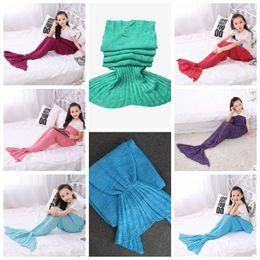 Wholesale Kids Crochet Knit Bags - 16 Colors 140*70cm Kids Knitted Mermaid Blankets Handmade Mermaid Tail Blanket Crochet Blanket Throw Bed Wrap Sleeping Bag CCA7357 100pcs
