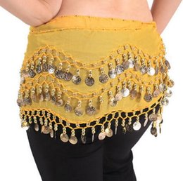Wholesale High Quality Belly Dance - Apparel 3 Rows 98 Coins Belly Egypt Dance Hip Skirts Scarf Wrap Belt Costume High quality Stage Wear