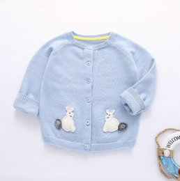 Wholesale Bunny Sweater Girls - Boys Girls Winter Knit Cardigans Adorable Bunny Sweater Coats Super High Quality Baby Kids Outwear Blue Yellow European American Tops 9461