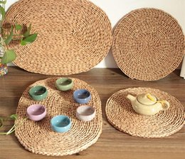 Wholesale Wholesale Bamboo Dinnerware - Wholesale- Handcraft Cup Mat Dish Pad Typha Weaved Heat Insulation Mat Dinnerware Pad Pastoral Non-slip Mat Table Decoration Kitchen Tools