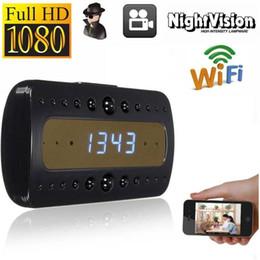 Wholesale Motion Recording Outdoor - Clock Spy P2P IP Camera COMS Sensor Photographing Video Recording Night Vision Mini Clock Cameras with Stereoscopic UV