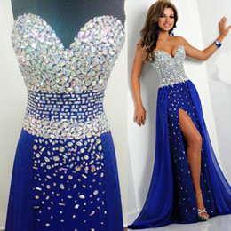 Wholesale Chiffon Empire Sweetheart Gown - Bling Royal Blue Prom Dresses Real Pictures Sweetheart Crystal Evening Gowns High Slit 2015 Beaded Vestidos Diamonds