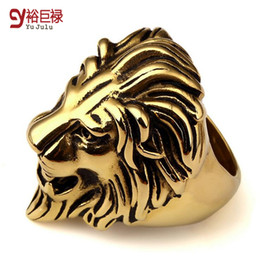 Wholesale Cool Gold Rings For Men - 2016 New hiphop gold rings for men lion head cool ring bague femme punk vintage unisex anillos mujer women 2016 wholesale unique