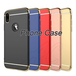Wholesale Apple Ipone Cases - Stock Cellphone Case Samsung Note 8 S7 Cellphone Case Electroplate PC 3in1 Back Phone Cover For iphone X ipone 8 Plus Case
