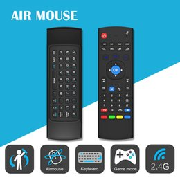 Wholesale Dual Axis - Wireless Air Fly Mouse Pads Keyboard MX3 2.4GHz Remote Control Somatosensory IR Learning 6 Axis without Mic for Android TV Box