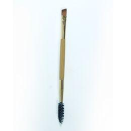 spazzole doppie finali di trucco Sconti All'ingrosso-Design di recente 1PCS Strumenti di trucco Manico in bambù Doppio sopracciglio + Pettine a spazzola per occhi Strumenti per il trucco