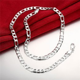 Wholesale Crystal Wedding Flats - Hot sale flat three men a necklace sterling silver necklace STSN032,fashion 925 silver Chains necklace factory direct sale christmas gift